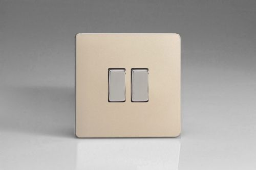 Varilight XEN2S Euro Satin Chrome 2 Gang 10A 1 or 2 Way Rocker Light Switch